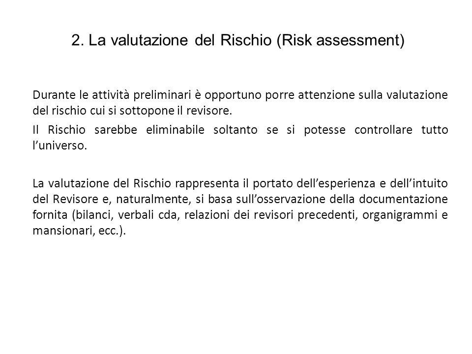 2. La valutazione del Rischio (Risk assessment)