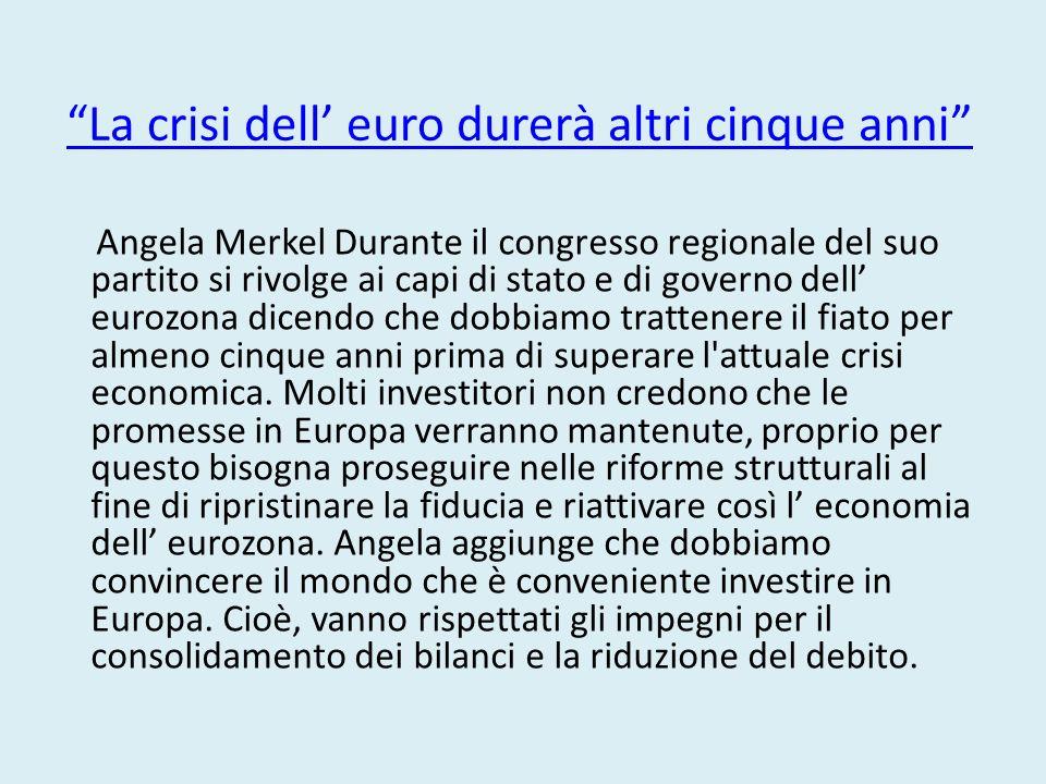 La crisi dell' euro durerà altri cinque anni