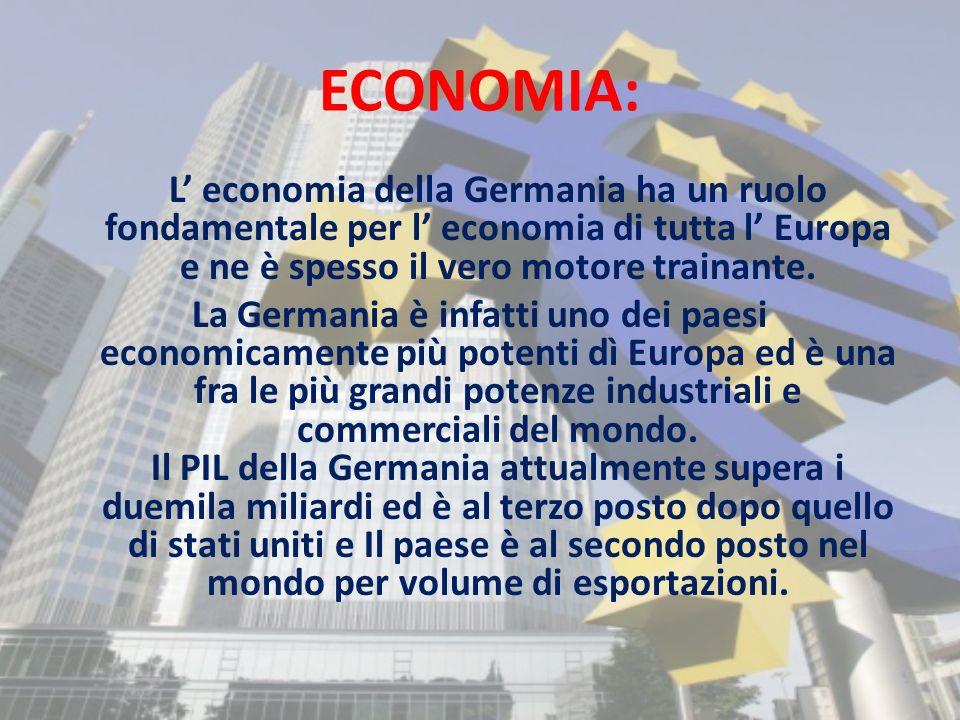 ECONOMIA: L' economia della Germania ha un ruolo fondamentale per l' economia di tutta l' Europa e ne è spesso il vero motore trainante.