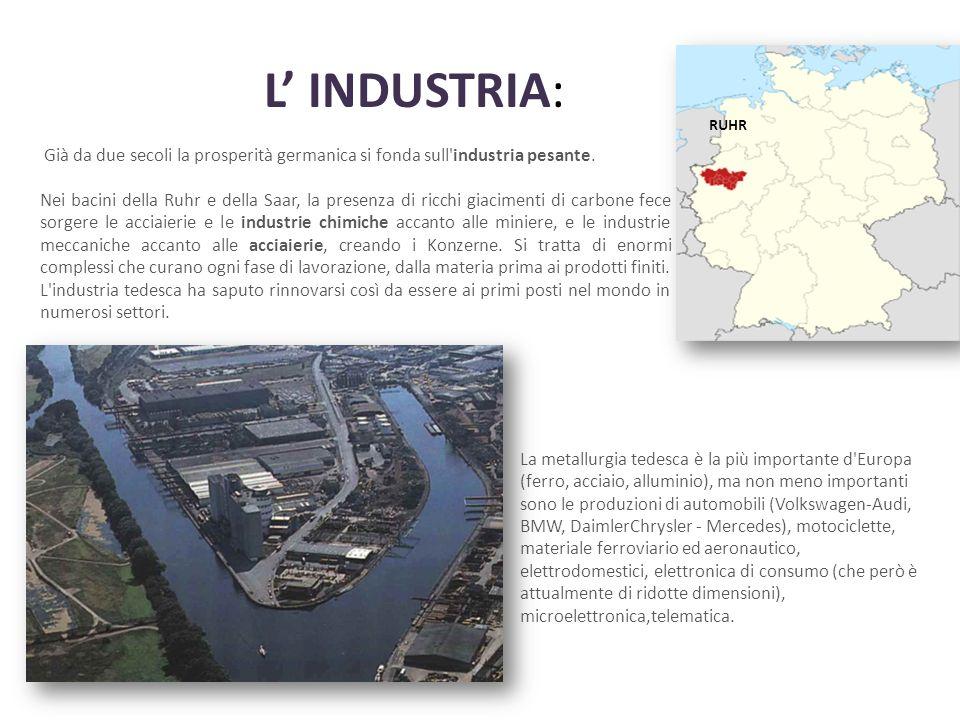 L' INDUSTRIA: Già da due secoli la prosperità germanica si fonda sull industria pesante.
