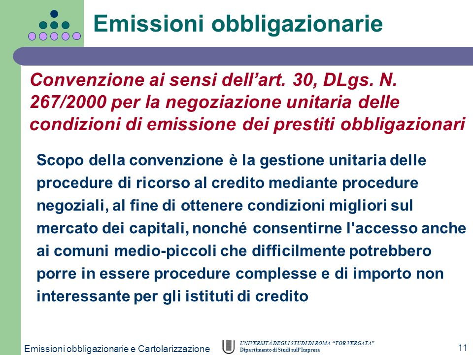 Emissioni obbligazionarie e Cartolarizzazione