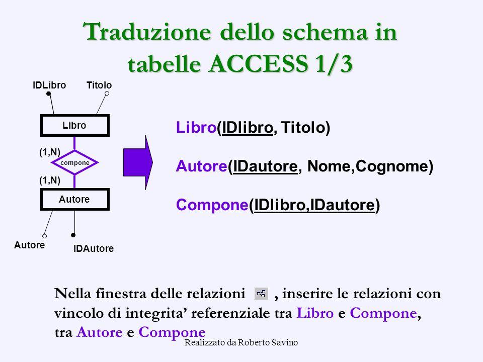 Traduzione dello schema in tabelle ACCESS 1/3