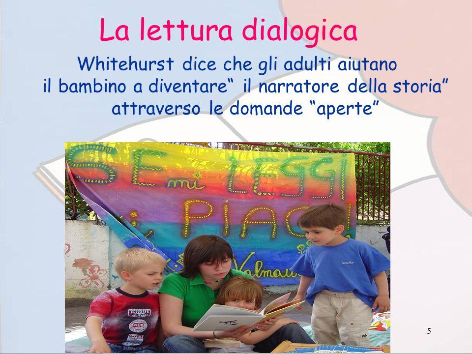 La lettura dialogica Whitehurst dice che gli adulti aiutano il bambino a diventare il narratore della storia attraverso le domande aperte