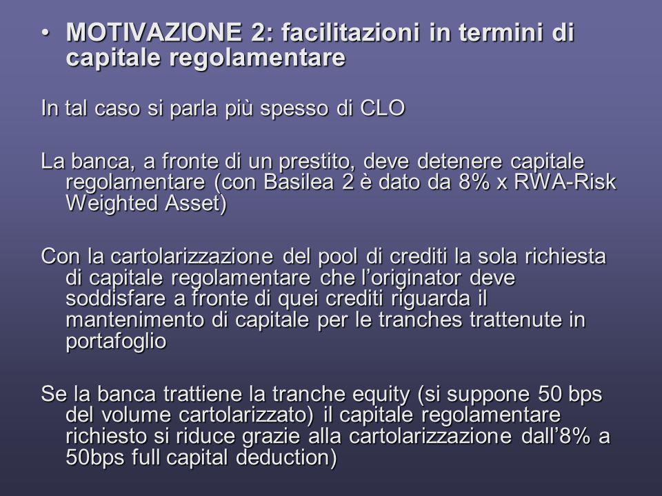 MOTIVAZIONE 2: facilitazioni in termini di capitale regolamentare