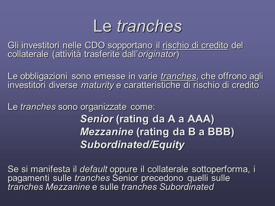 Le tranches Senior (rating da A a AAA) Mezzanine (rating da B a BBB)