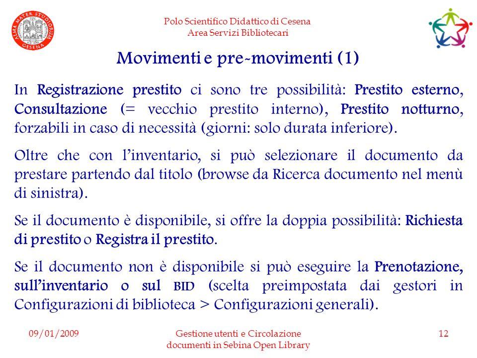 Movimenti e pre-movimenti (1)