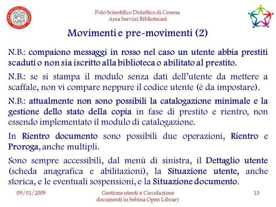 Movimenti e pre-movimenti (2)