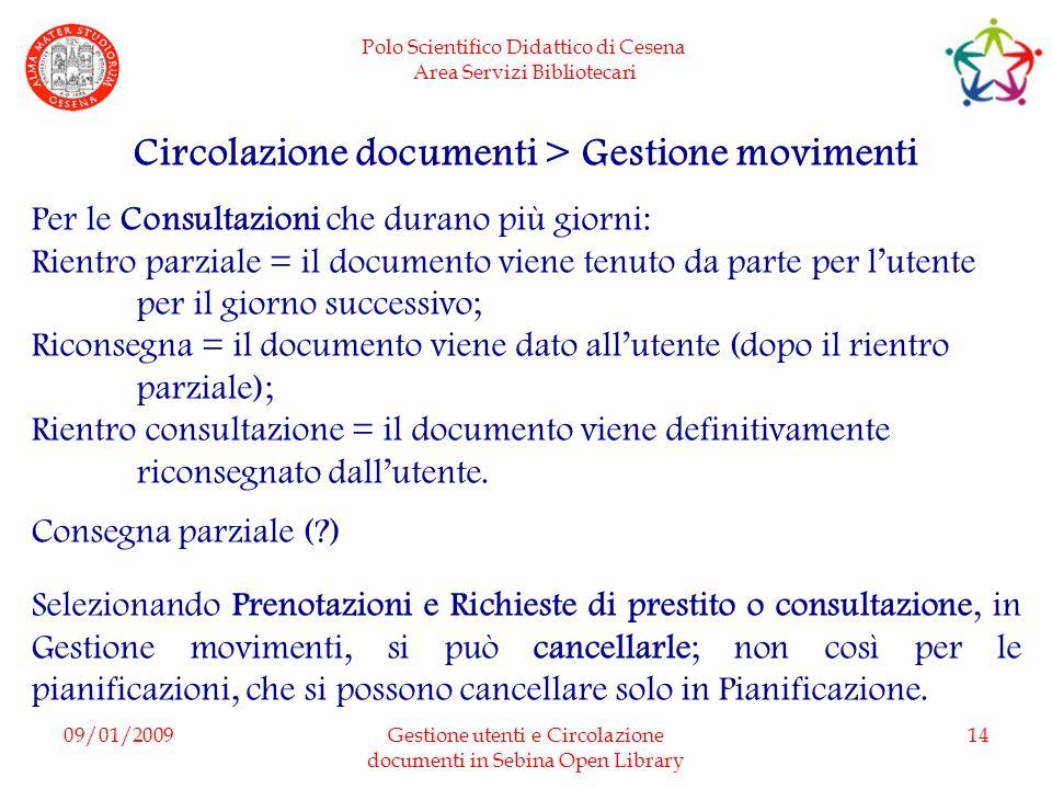 Circolazione documenti > Gestione movimenti