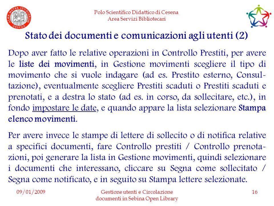 Stato dei documenti e comunicazioni agli utenti (2)