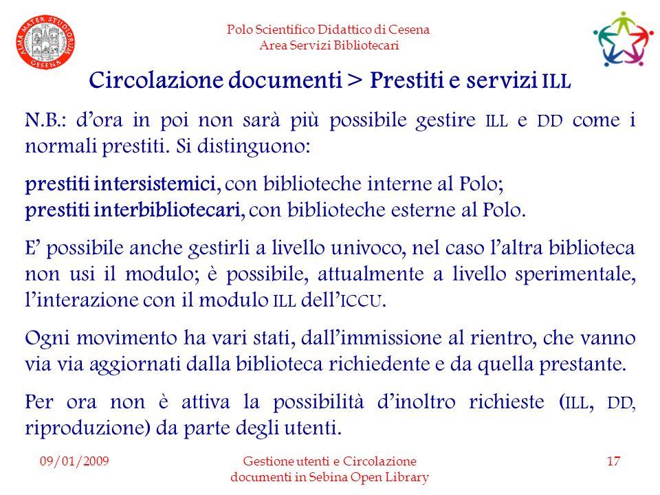 Circolazione documenti > Prestiti e servizi ILL