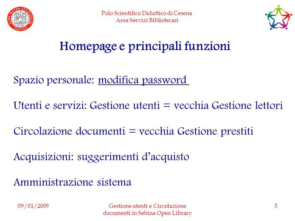 Homepage e principali funzioni