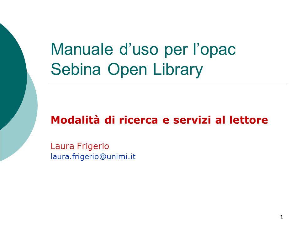 Manuale d'uso per l'opac Sebina Open Library