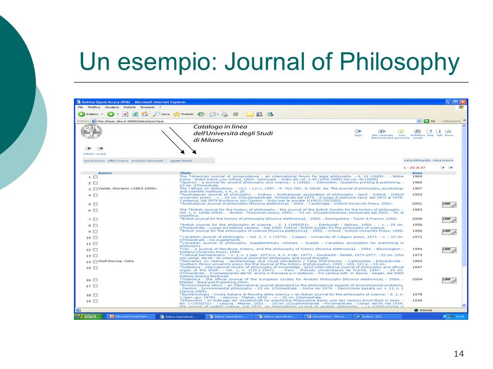Un esempio: Journal of Philosophy
