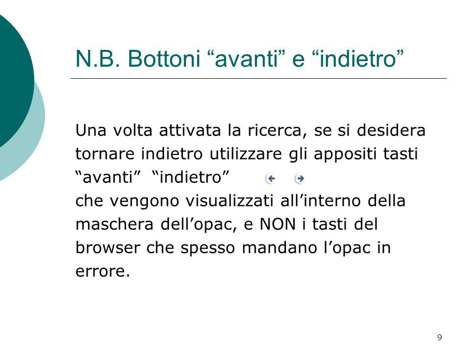 N.B. Bottoni avanti e indietro