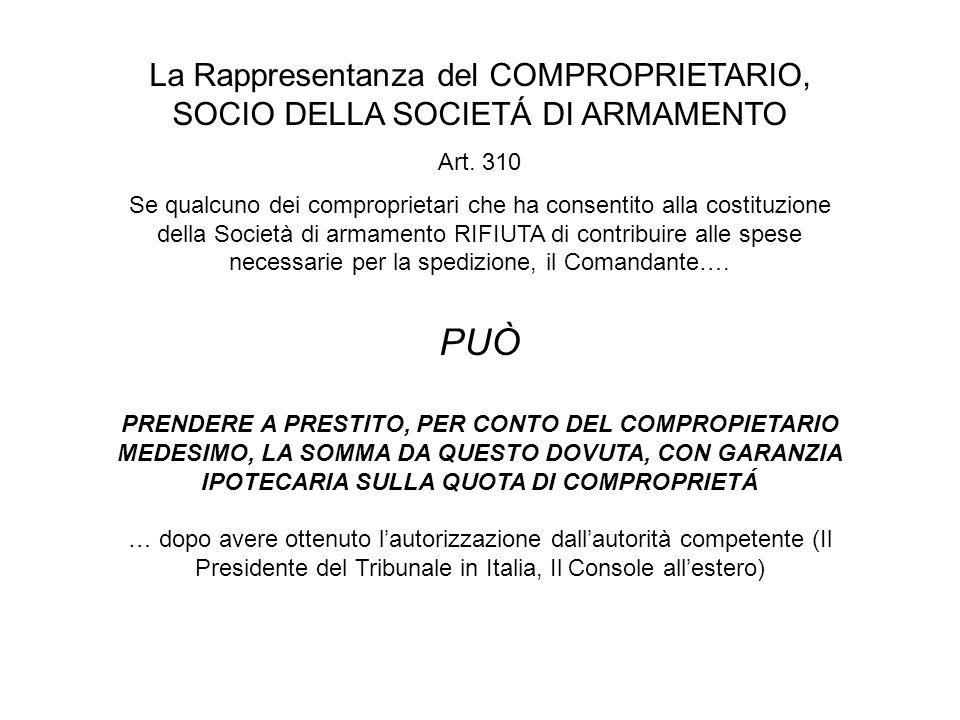 La Rappresentanza del COMPROPRIETARIO, SOCIO DELLA SOCIETÁ DI ARMAMENTO