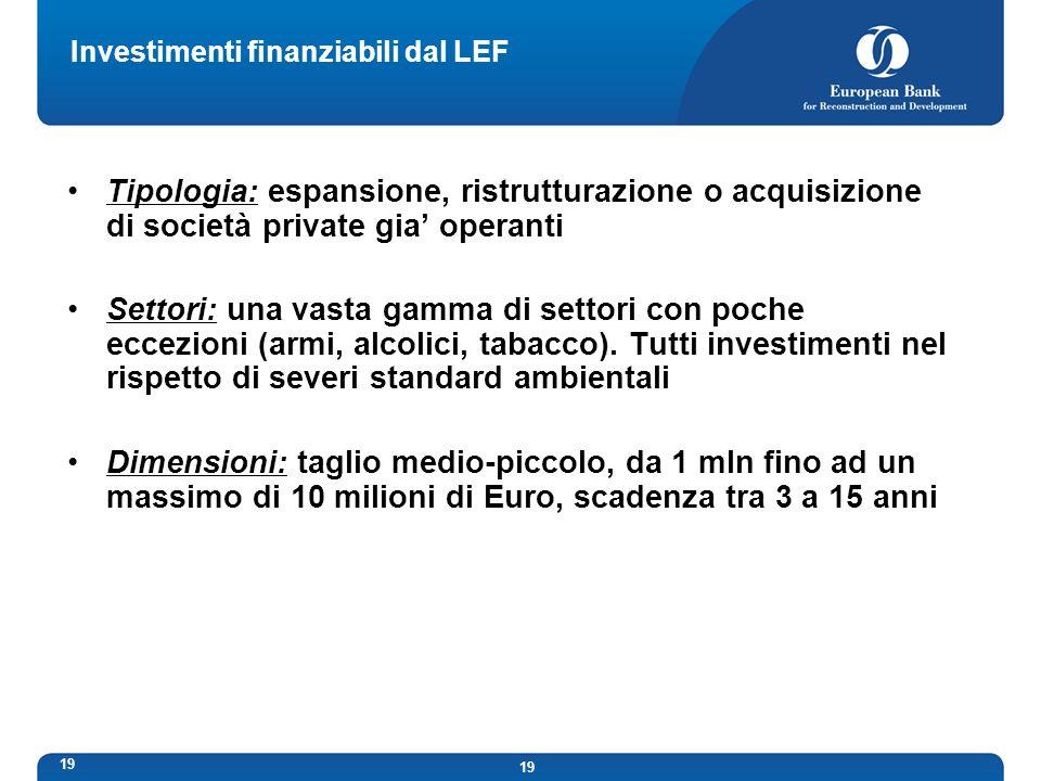 Investimenti finanziabili dal LEF