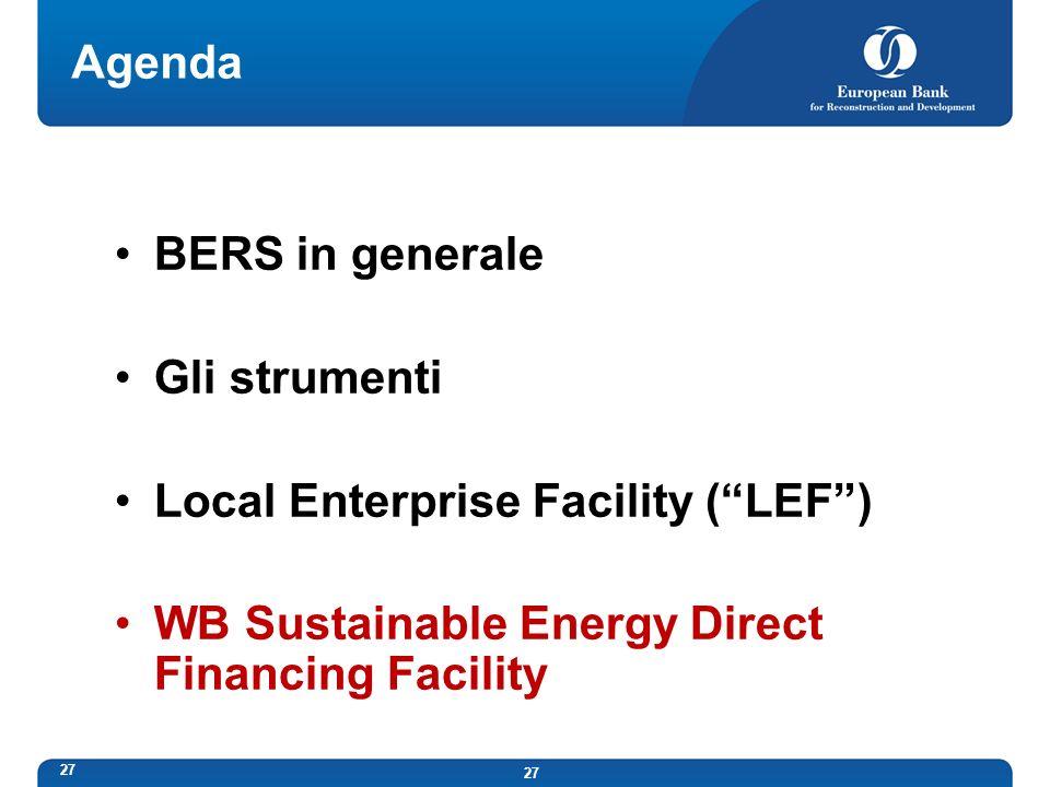 Agenda BERS in generale. Gli strumenti.