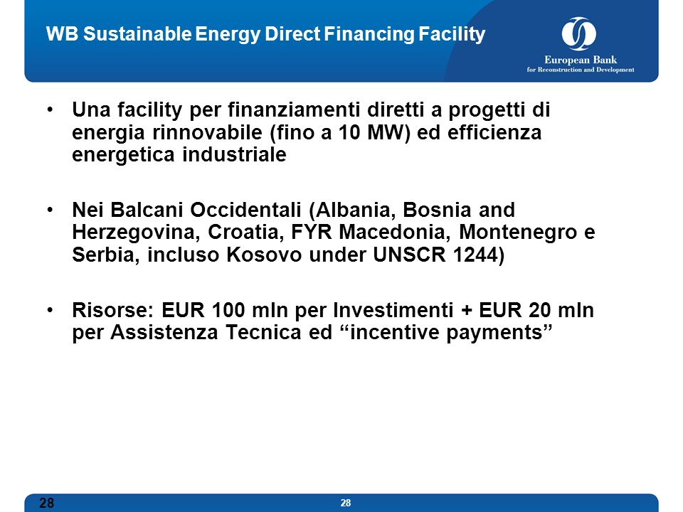 WB Sustainable Energy Direct Financing Facility