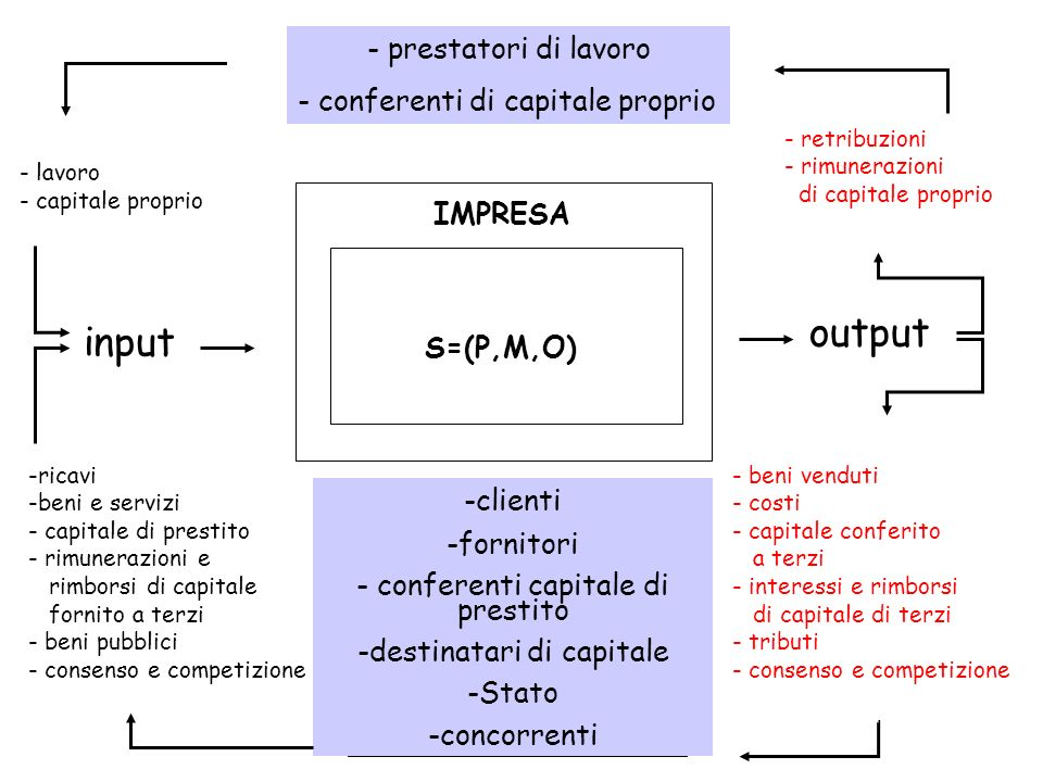 output input - prestatori di lavoro - conferenti di capitale proprio