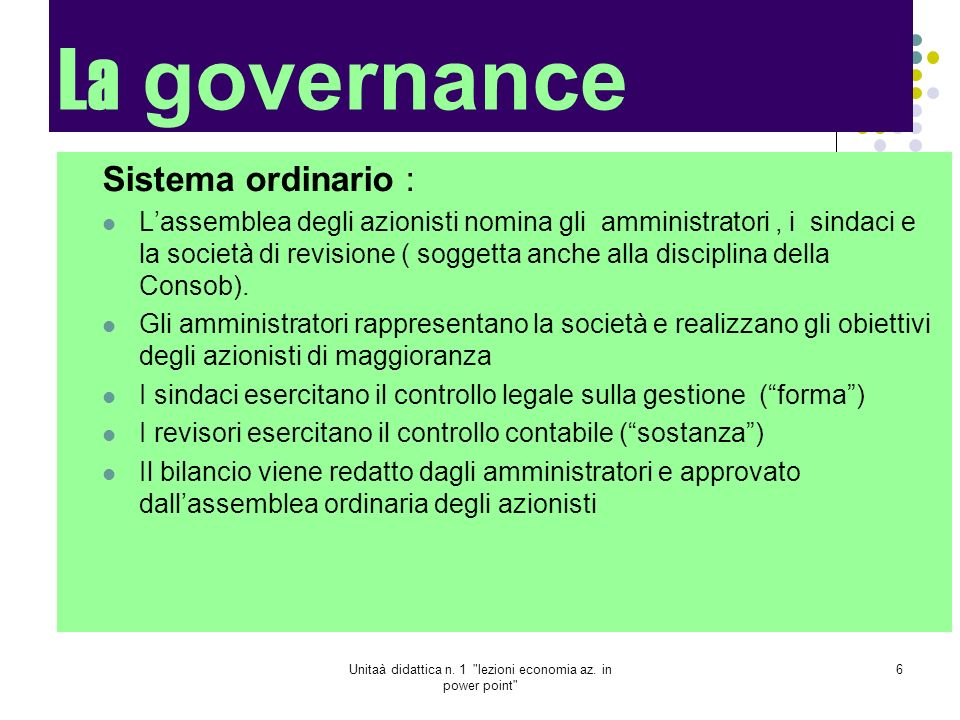Unitaà didattica n. 1 lezioni economia az. in power point