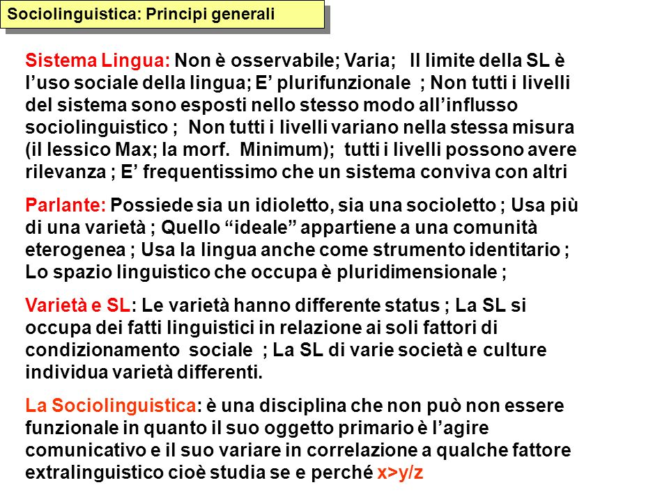 Sociolinguistica: Principi generali