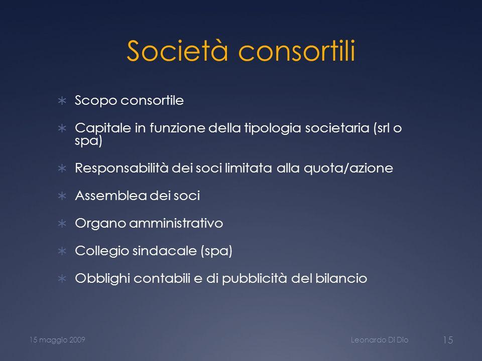 Società consortili Scopo consortile