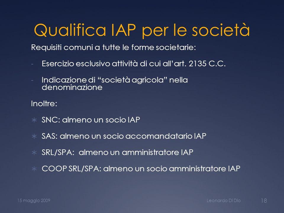 Qualifica IAP per le società