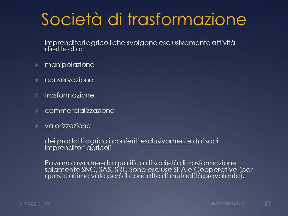 Società di trasformazione