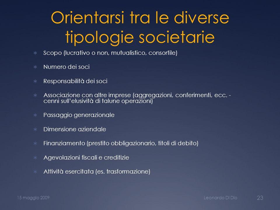Orientarsi tra le diverse tipologie societarie