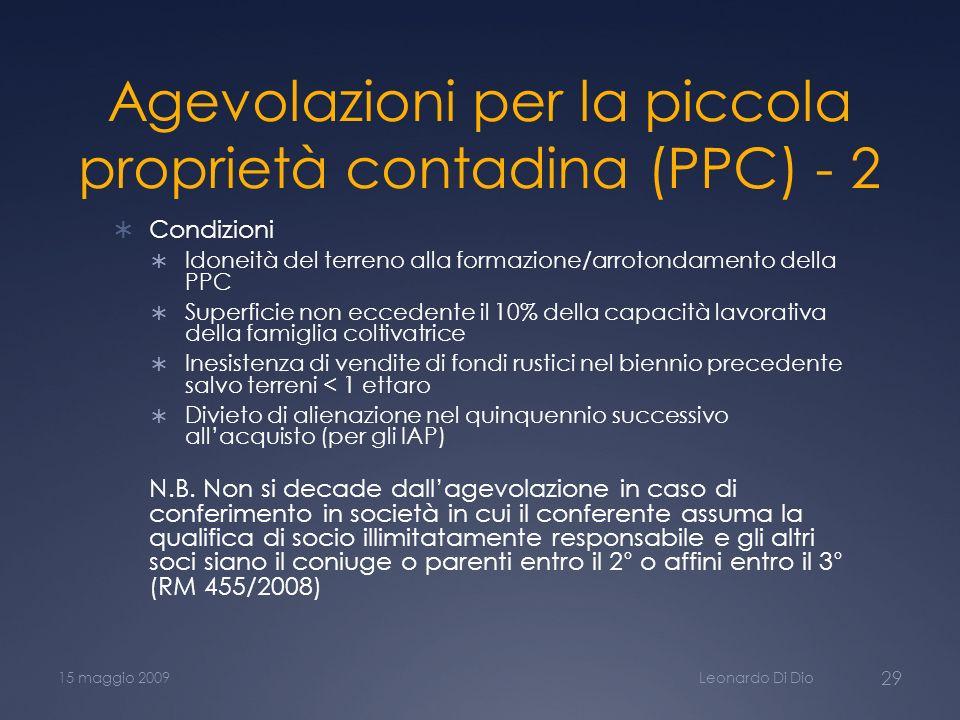 Agevolazioni per la piccola proprietà contadina (PPC) - 2