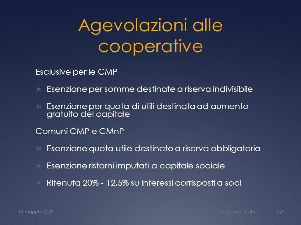Agevolazioni alle cooperative
