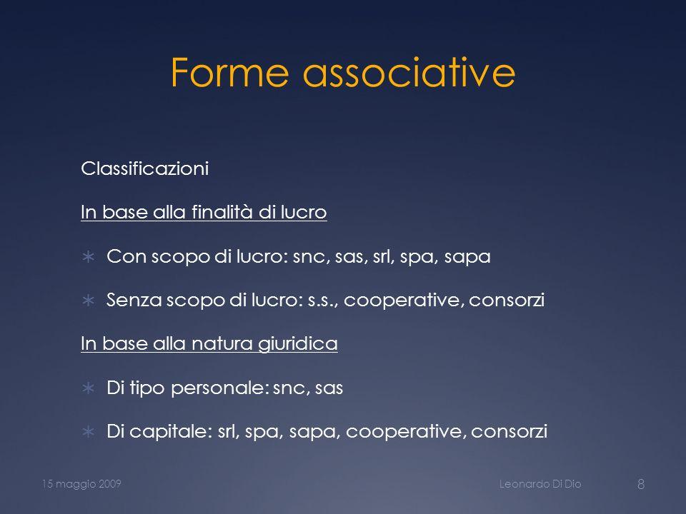 Forme associative Classificazioni In base alla finalità di lucro
