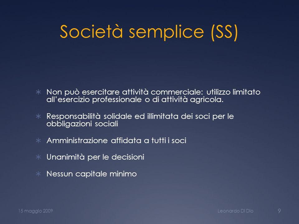 Società semplice (SS) Non può esercitare attività commerciale: utilizzo limitato all'esercizio professionale o di attività agricola.