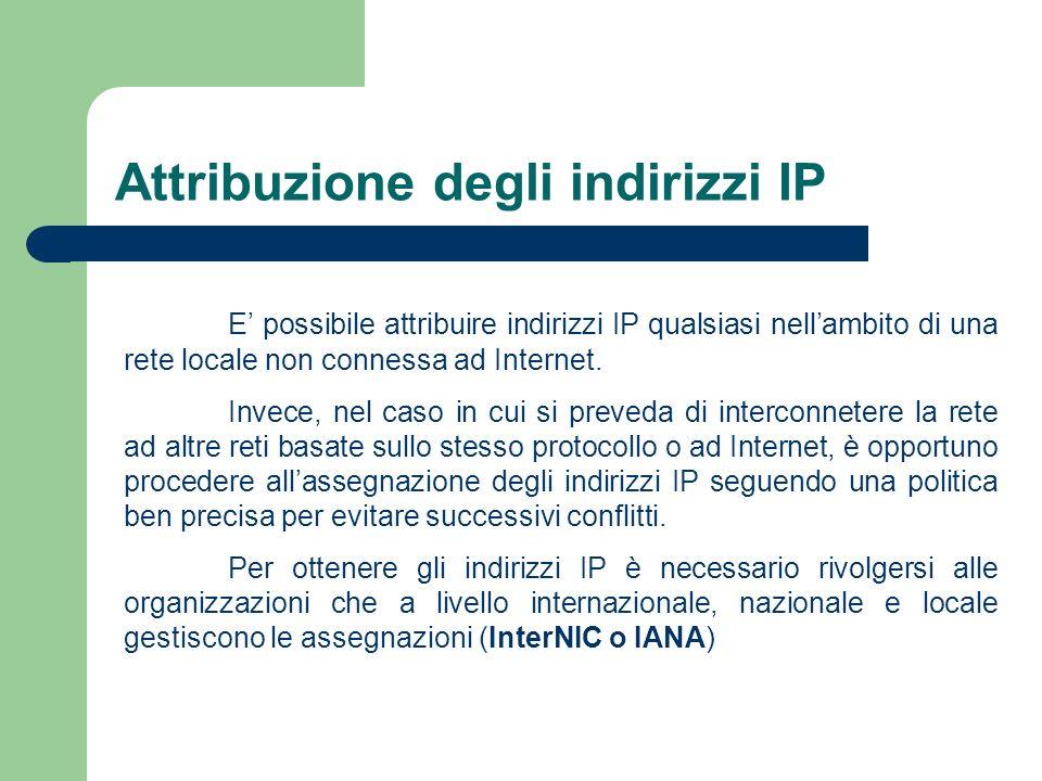 Attribuzione degli indirizzi IP