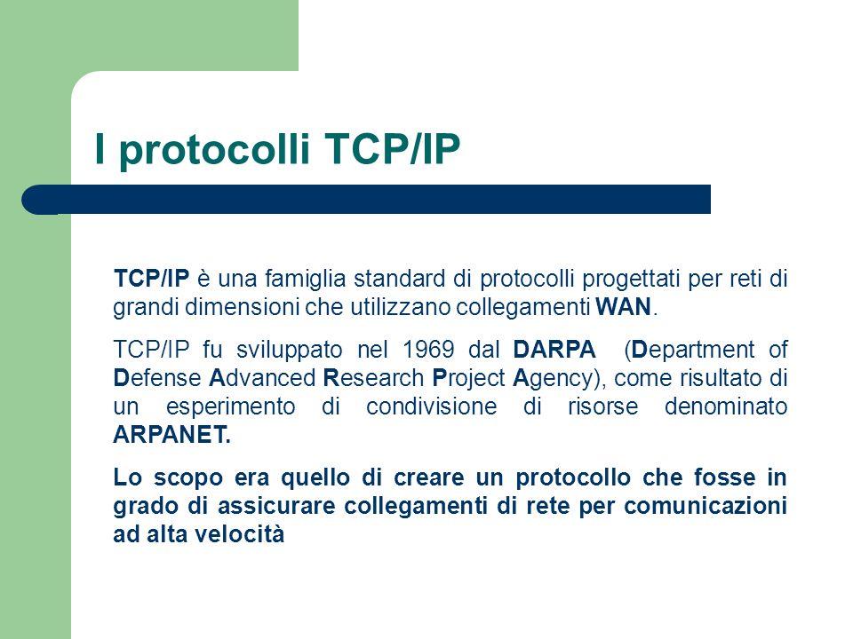 I protocolli TCP/IP TCP/IP è una famiglia standard di protocolli progettati per reti di grandi dimensioni che utilizzano collegamenti WAN.