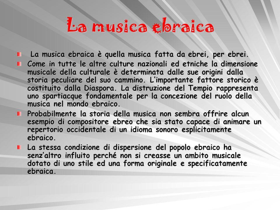 La musica ebraica La musica ebraica è quella musica fatta da ebrei, per ebrei.