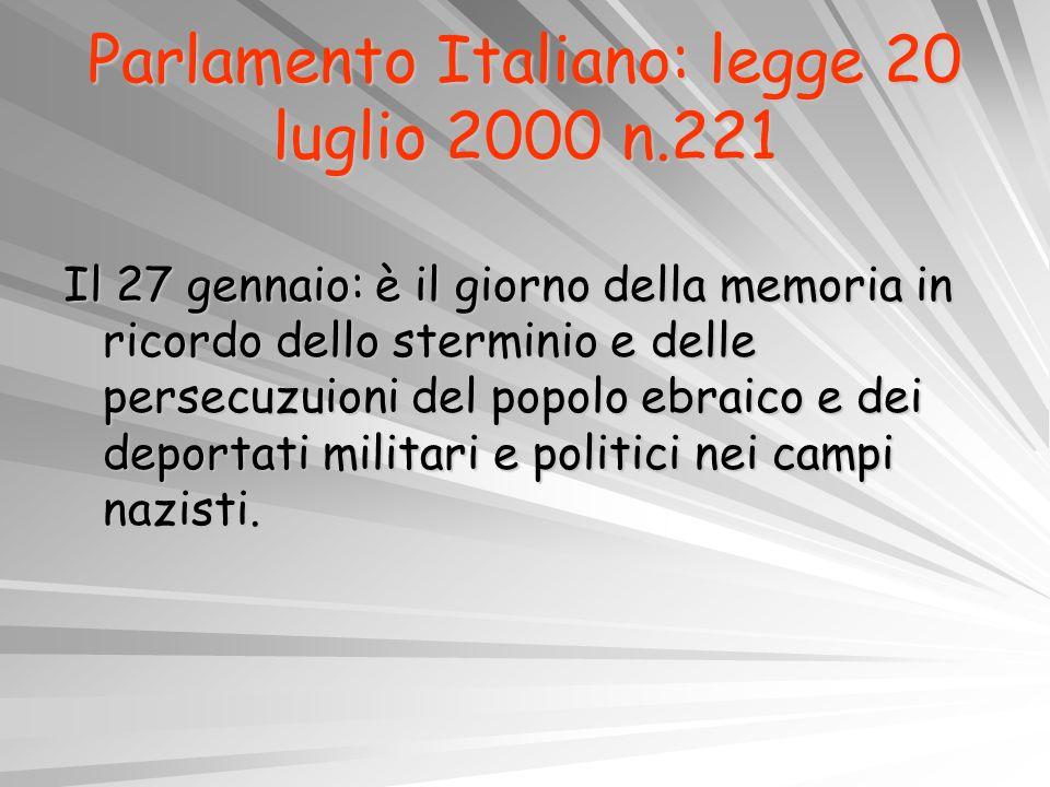 Parlamento Italiano: legge 20 luglio 2000 n.221