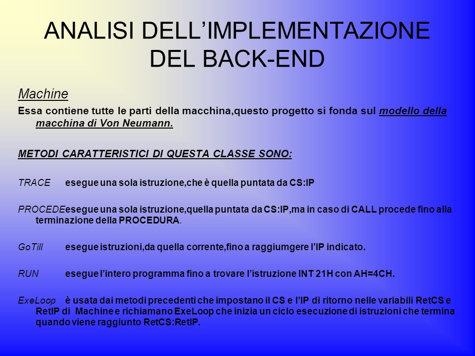 ANALISI DELL'IMPLEMENTAZIONE DEL BACK-END