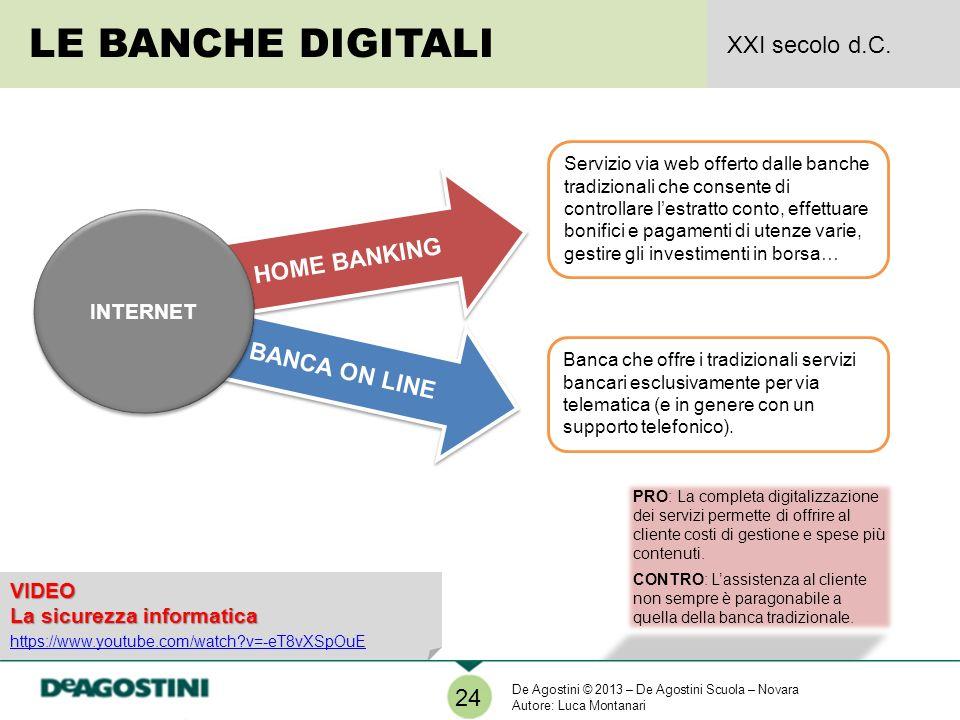LE BANCHE DIGITALI XXI secolo d.C. HOME BANKING BANCA ON LINE 24