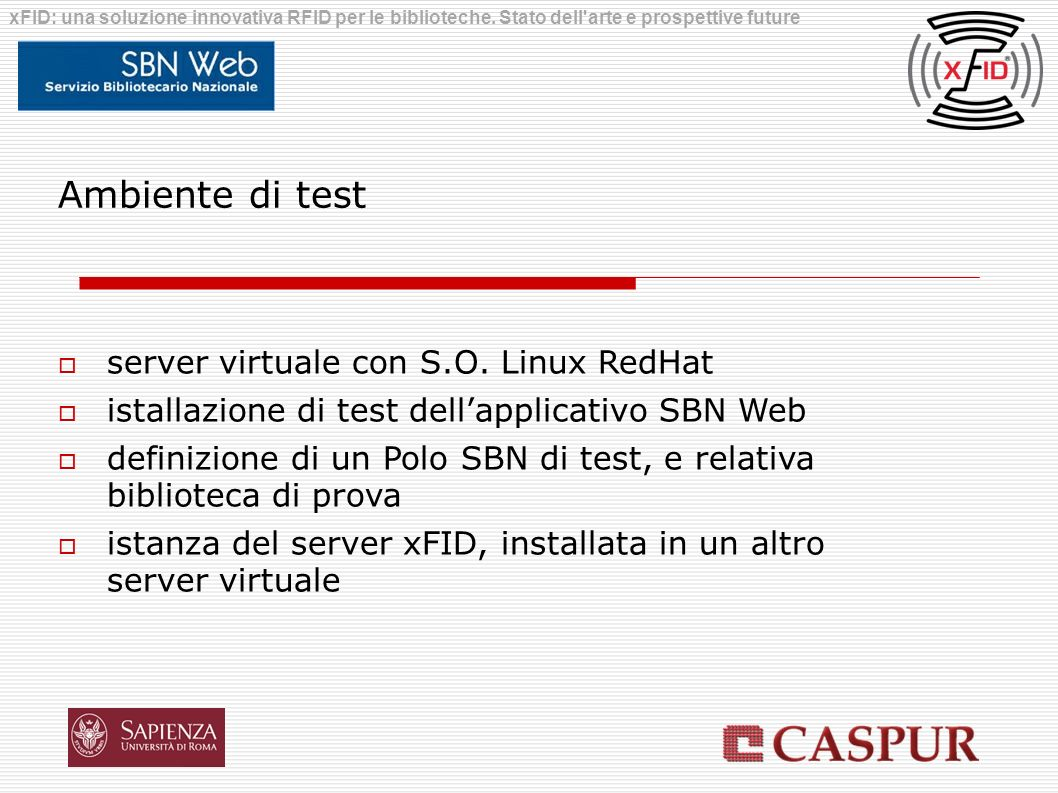 Ambiente di test server virtuale con S.O. Linux RedHat