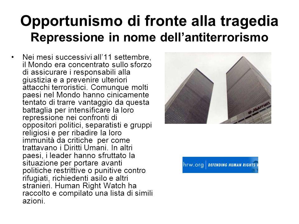 Opportunismo di fronte alla tragedia Repressione in nome dell'antiterrorismo