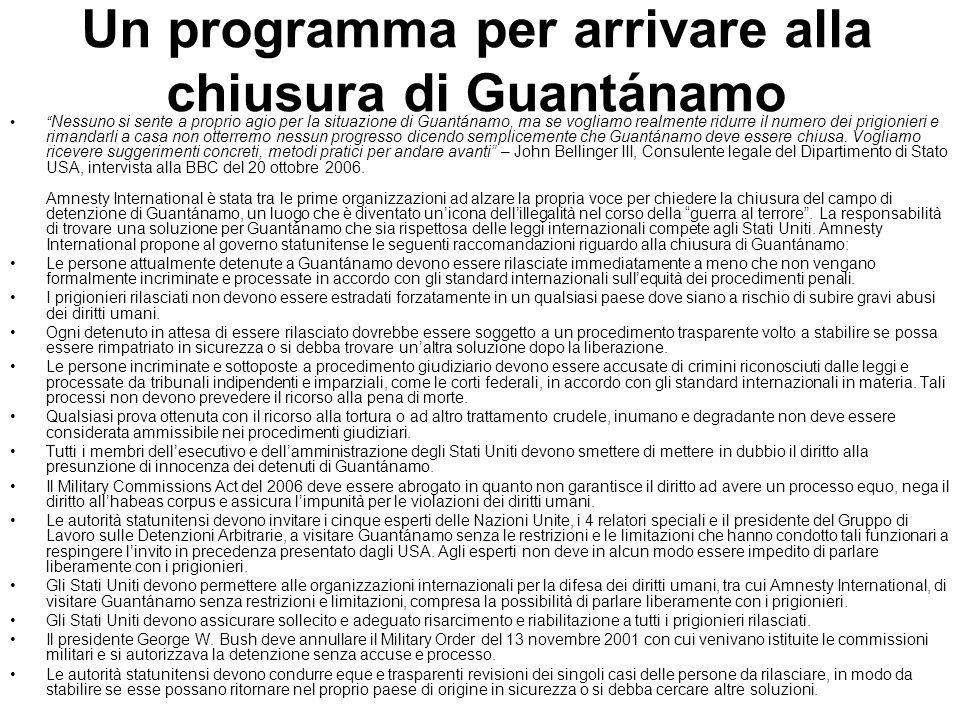 Un programma per arrivare alla chiusura di Guantánamo