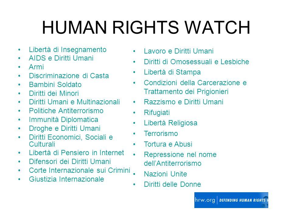 HUMAN RIGHTS WATCH Libertà di Insegnamento AIDS e Diritti Umani Armi