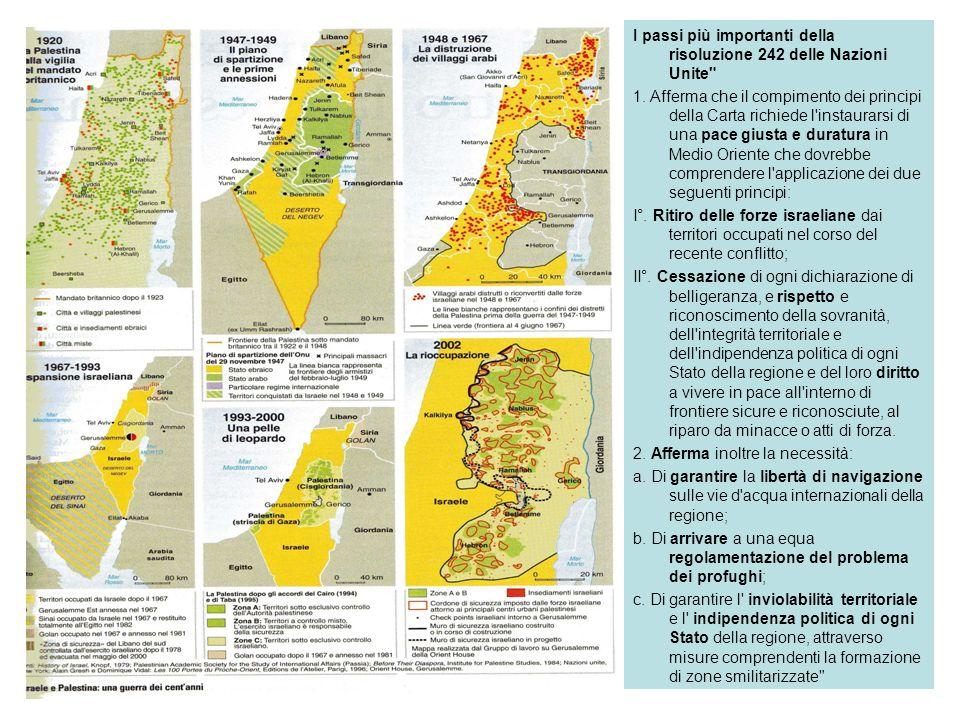 I passi più importanti della risoluzione 242 delle Nazioni Unite