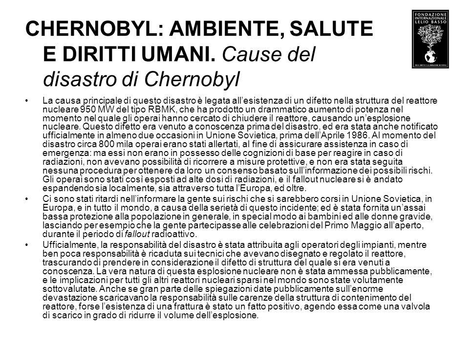 CHERNOBYL: AMBIENTE, SALUTE E DIRITTI UMANI