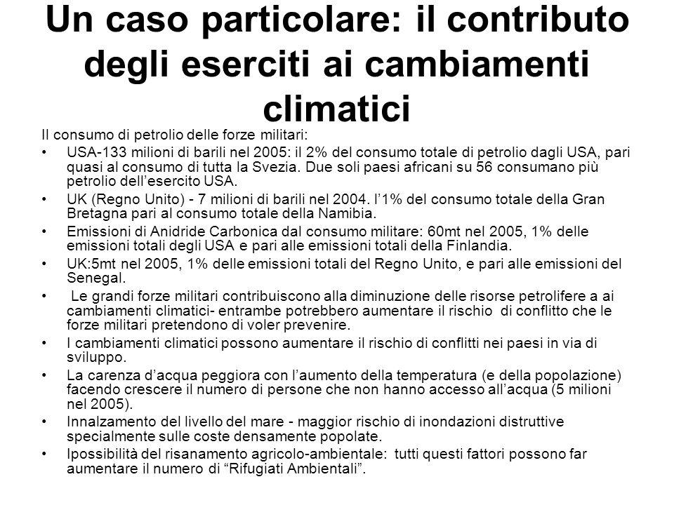 Un caso particolare: il contributo degli eserciti ai cambiamenti climatici