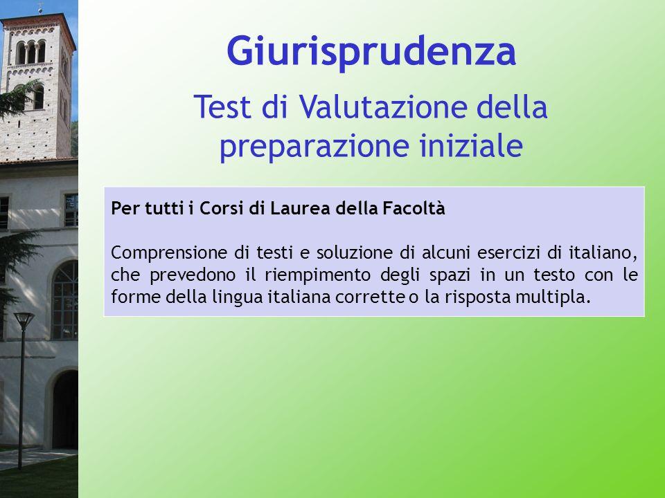 Giurisprudenza Test di Valutazione della preparazione iniziale