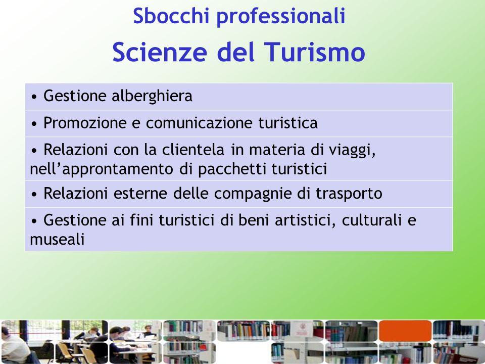 Scienze del Turismo Sbocchi professionali Gestione alberghiera