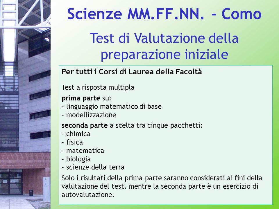 Scienze MM.FF.NN. - Como Test di Valutazione della