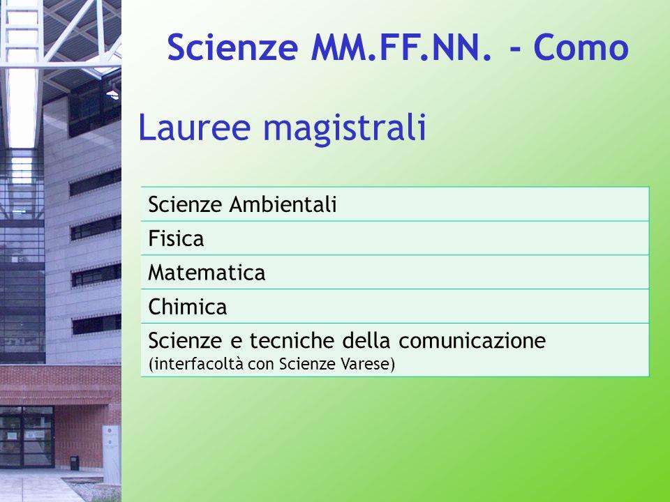 Scienze MM.FF.NN. - Como Lauree magistrali Scienze Ambientali Fisica